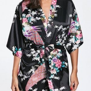 Black Kimono Robe/ Black Satin Robe/ Peacock